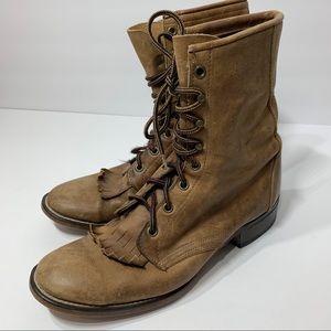Laredo Roper Lace-up Western Round Toe Tan Boots